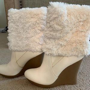Jennifer Lopez white boot wedges